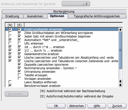 Dialog AutoKorrektur, Register Optionen